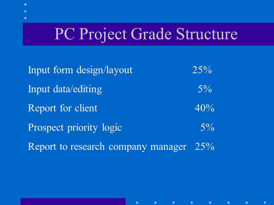 PC Project Grade Structure