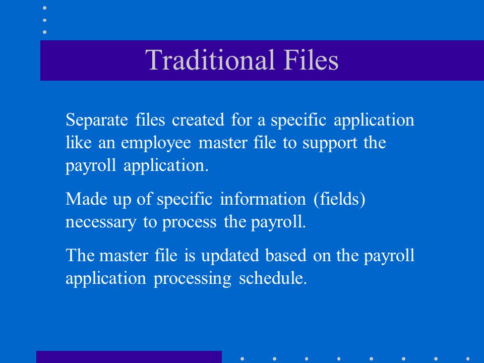 Traditional Files Separate files created for a specific application like an employee master file to support the payroll application.