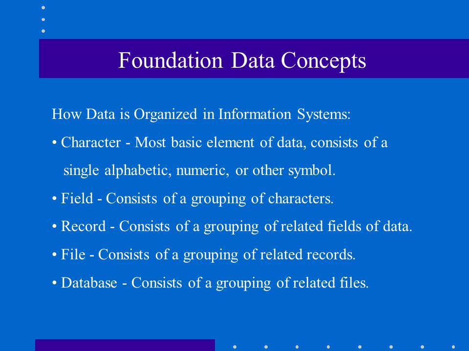 Foundation Data Concepts