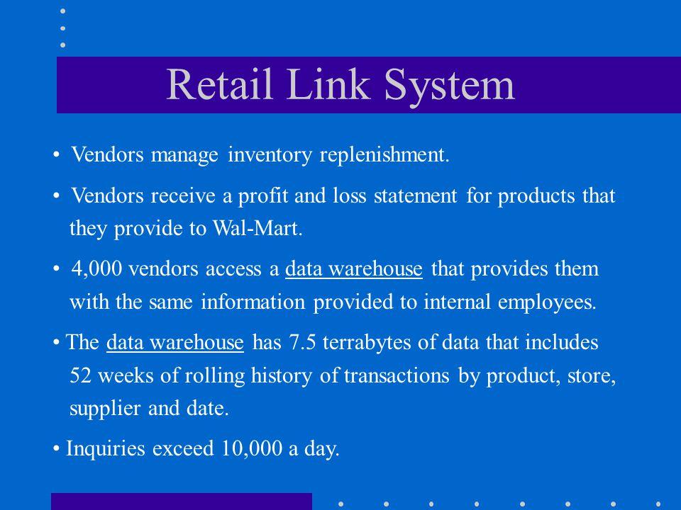 Retail Link System Vendors manage inventory replenishment.
