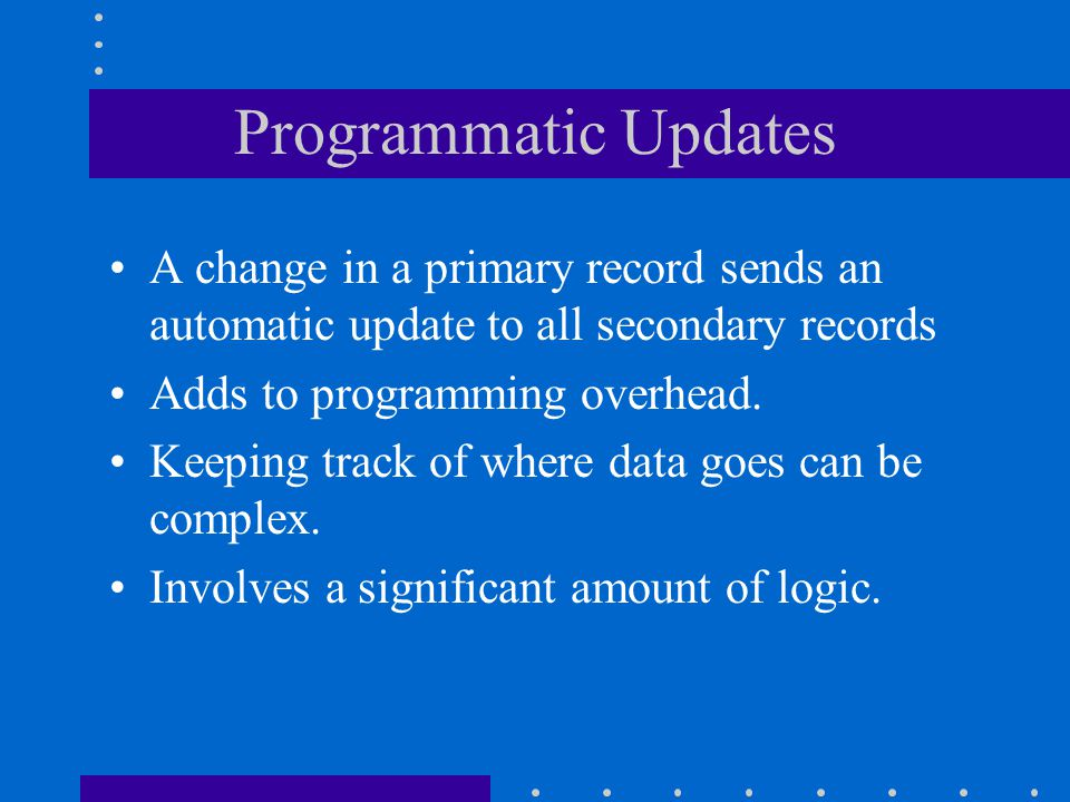 Programmatic Updates A change in a primary record sends an automatic update to all secondary records.