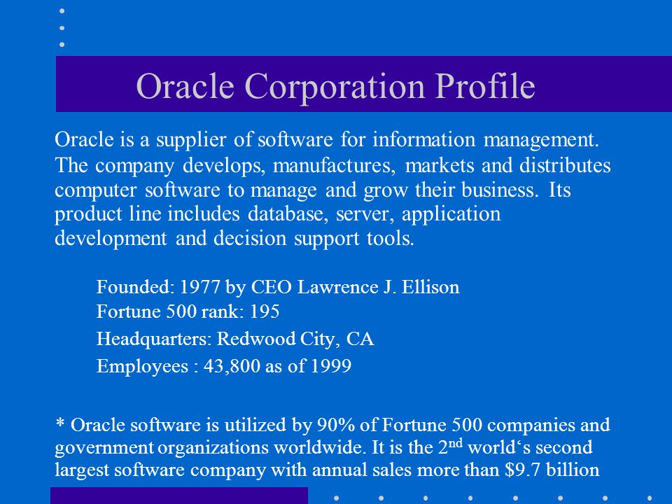 Oracle Corporation Profile
