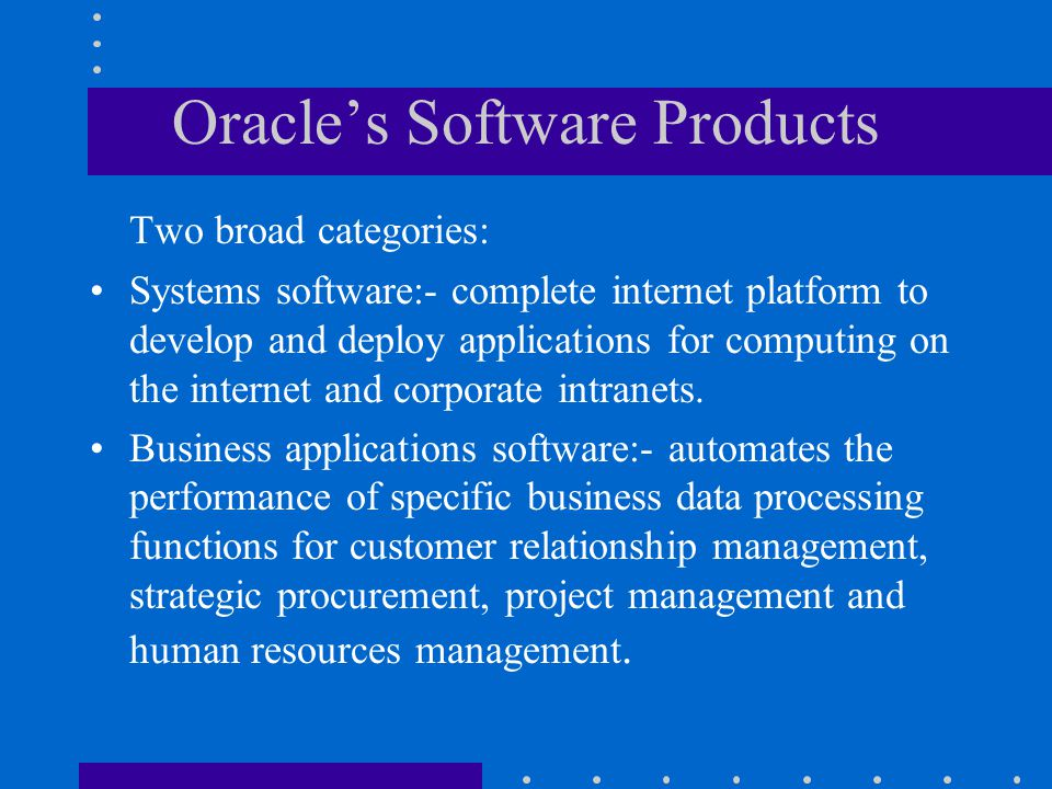 Oracle's Software Products