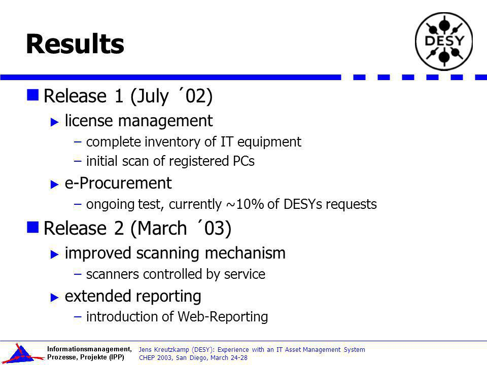 Results Release 1 (July ´02) Release 2 (March ´03) license management