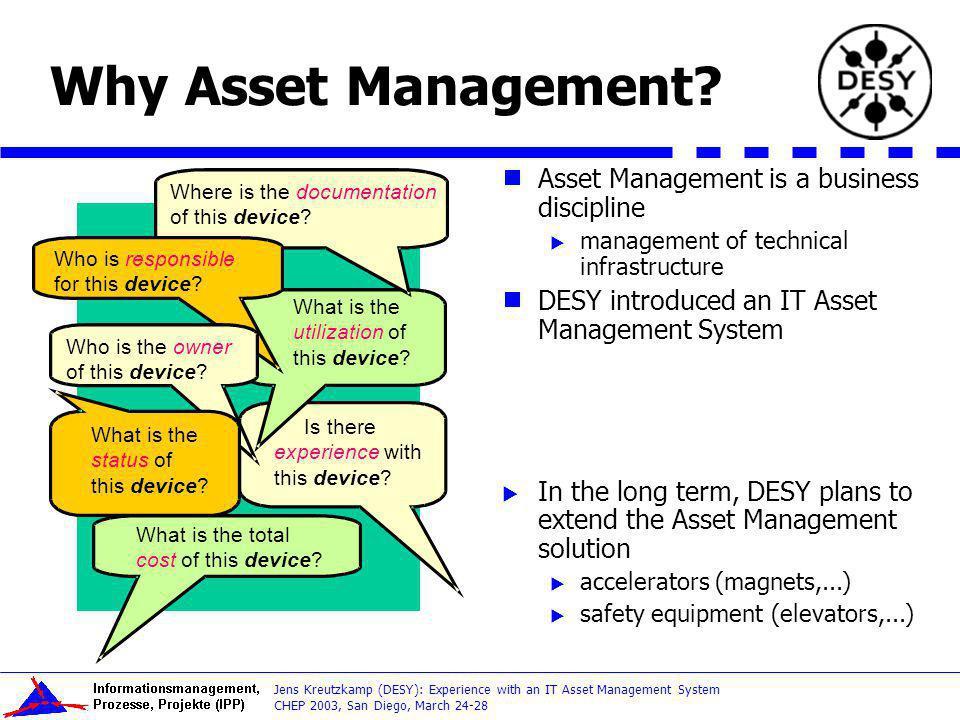 Why Asset Management Asset Management is a business discipline