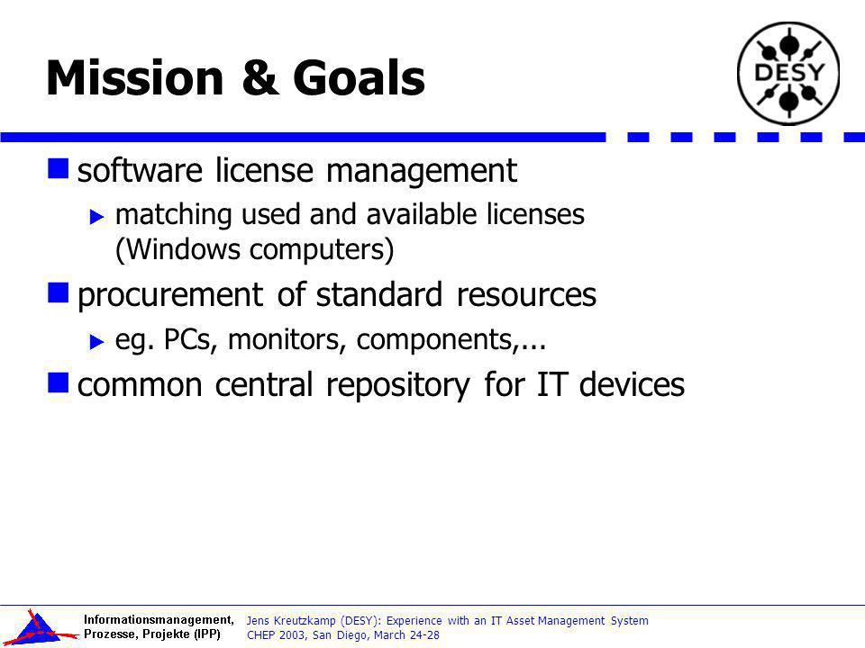 Mission & Goals software license management