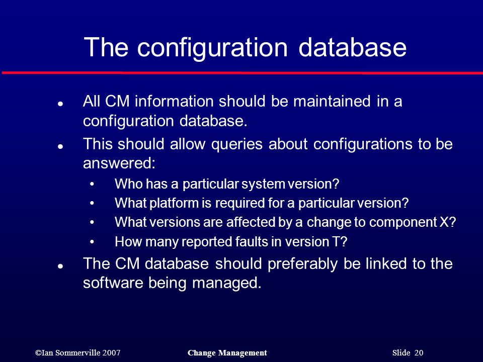 The configuration database