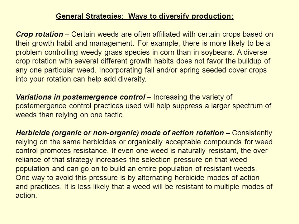 General Strategies: Ways to diversify production: