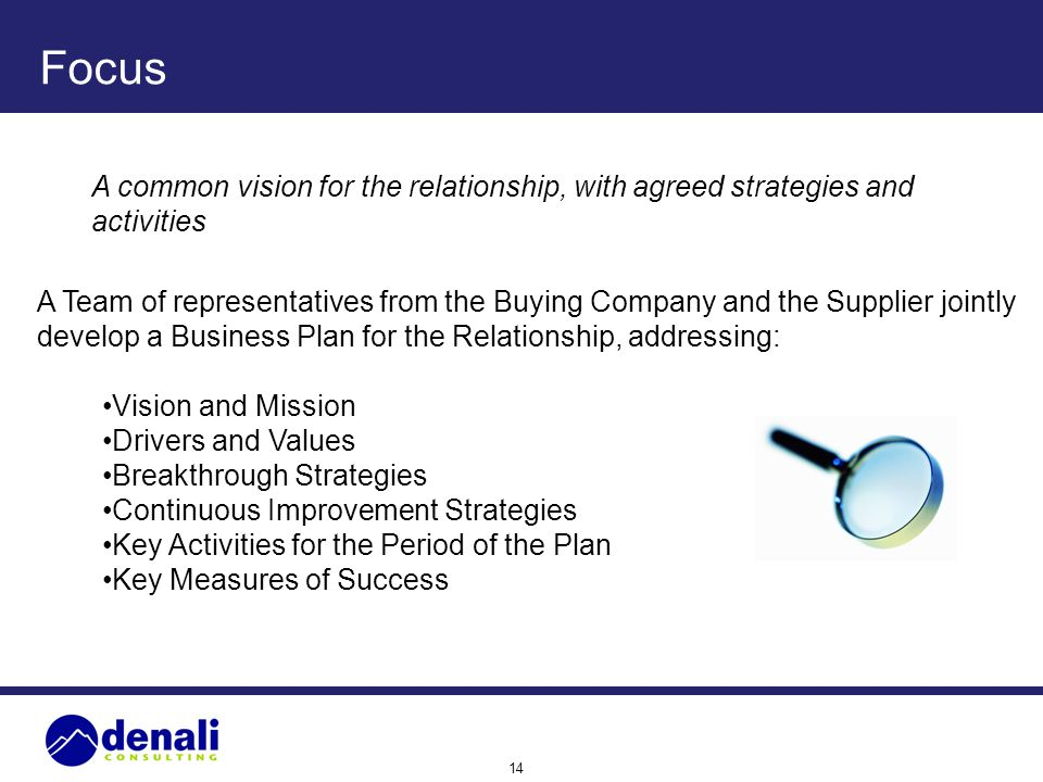 Focus A common vision for the relationship, with agreed strategies and activities.