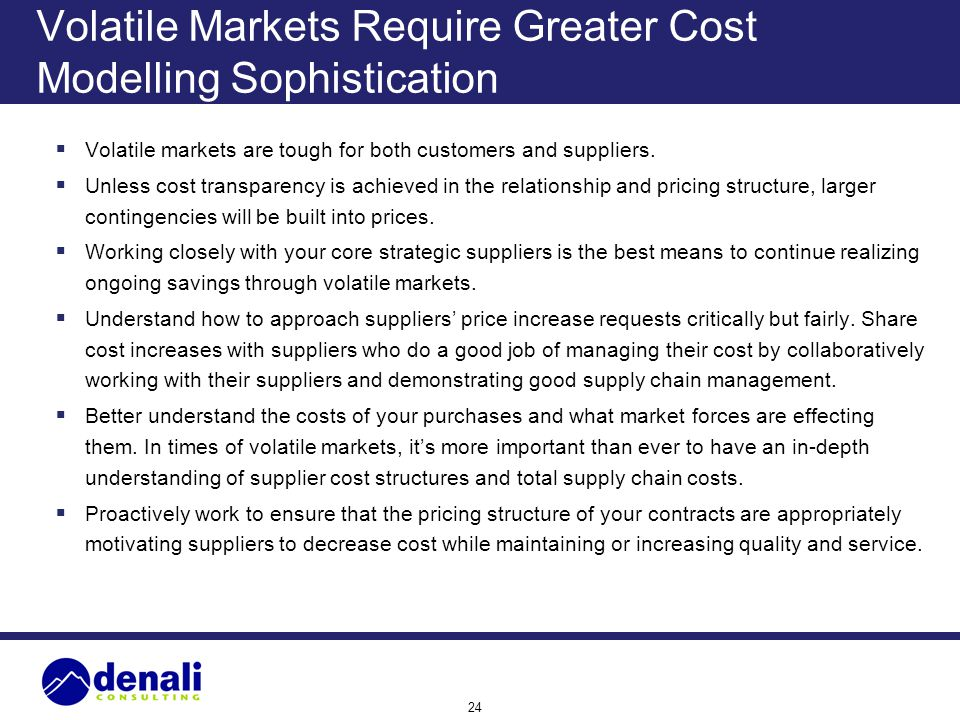 Volatile Markets Require Greater Cost Modelling Sophistication