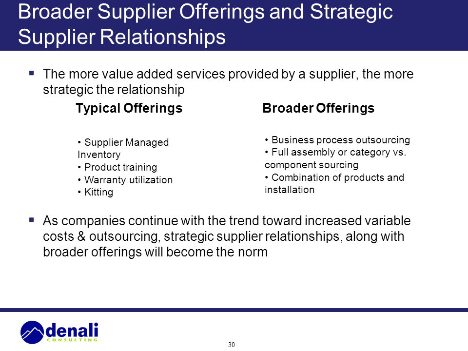 Broader Supplier Offerings and Strategic Supplier Relationships