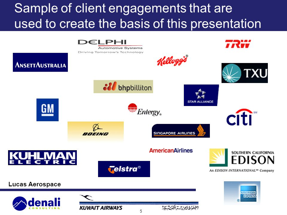 Sample of client engagements that are used to create the basis of this presentation