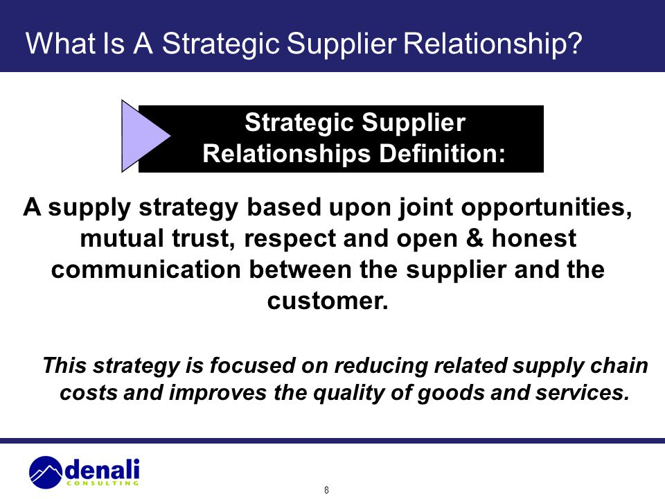 What Is A Strategic Supplier Relationship