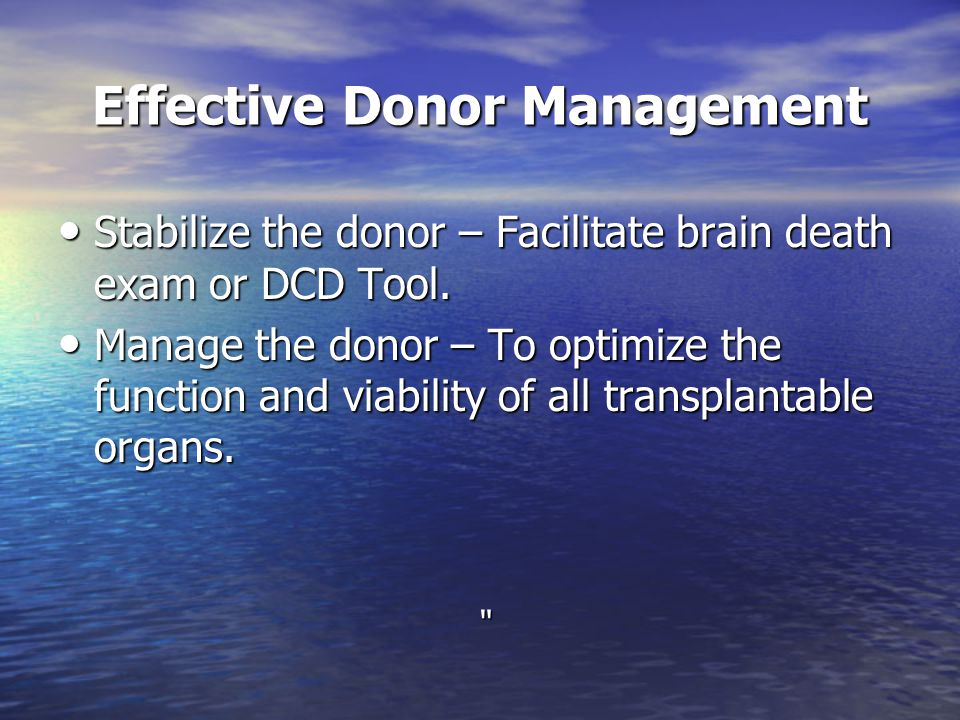Effective Donor Management
