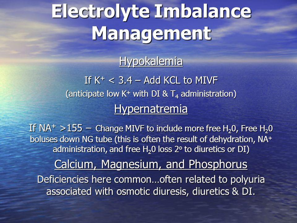 Electrolyte Imbalance Management