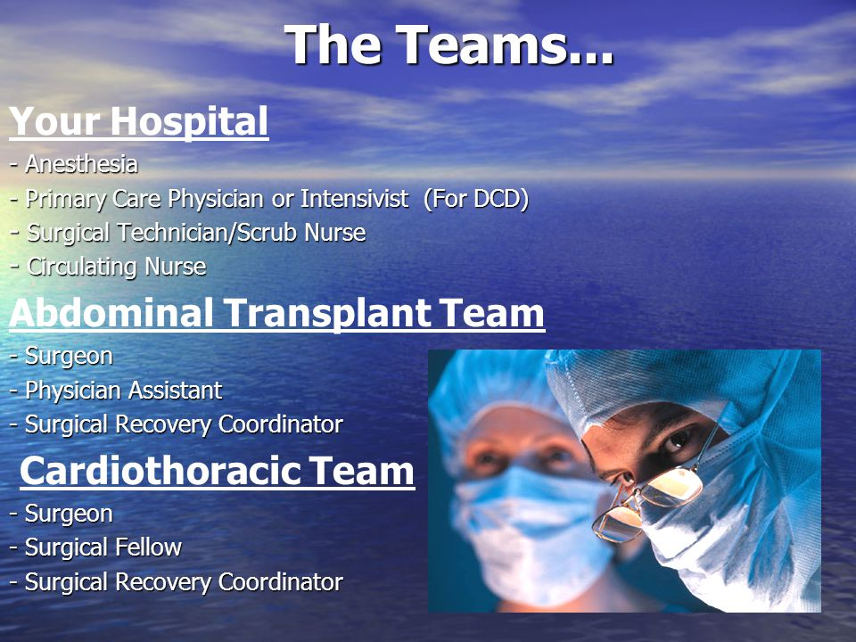 The Teams... Your Hospital Abdominal Transplant Team