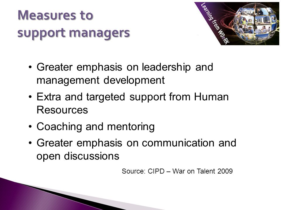 Measures to support managers
