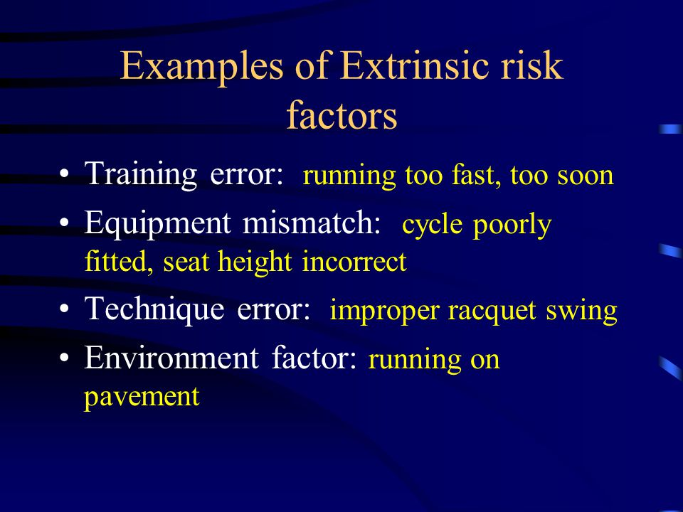 Examples of Extrinsic risk factors