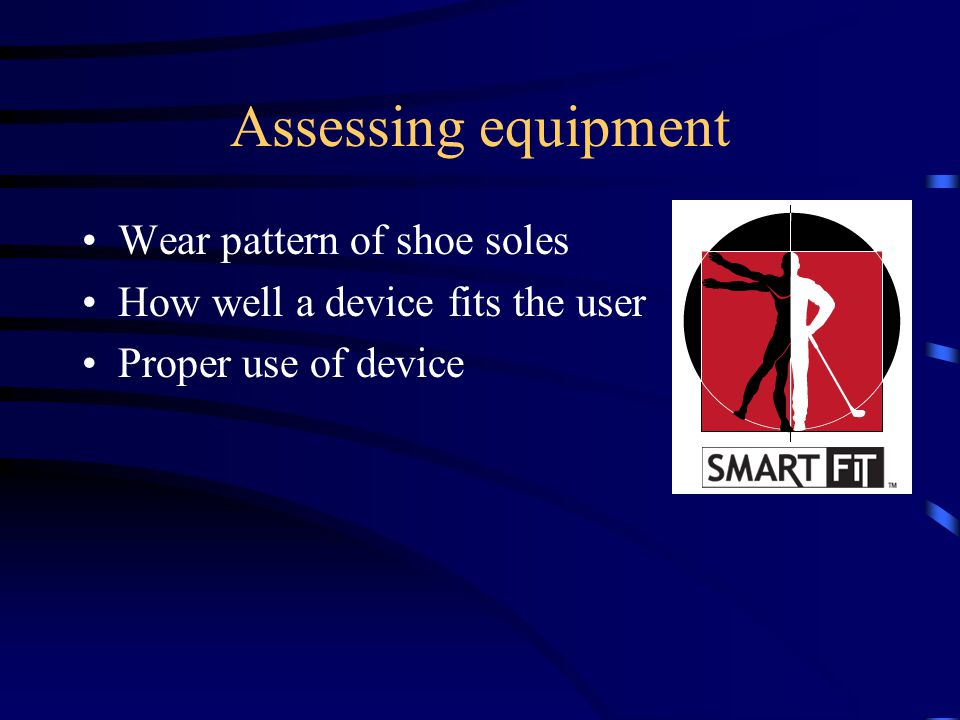 Assessing equipment Wear pattern of shoe soles