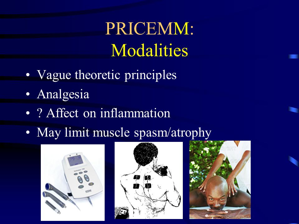 PRICEMM: Modalities Vague theoretic principles Analgesia