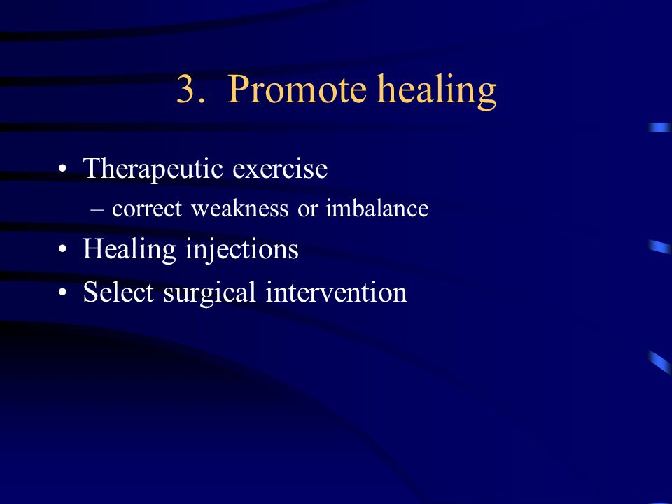 3. Promote healing Therapeutic exercise Healing injections