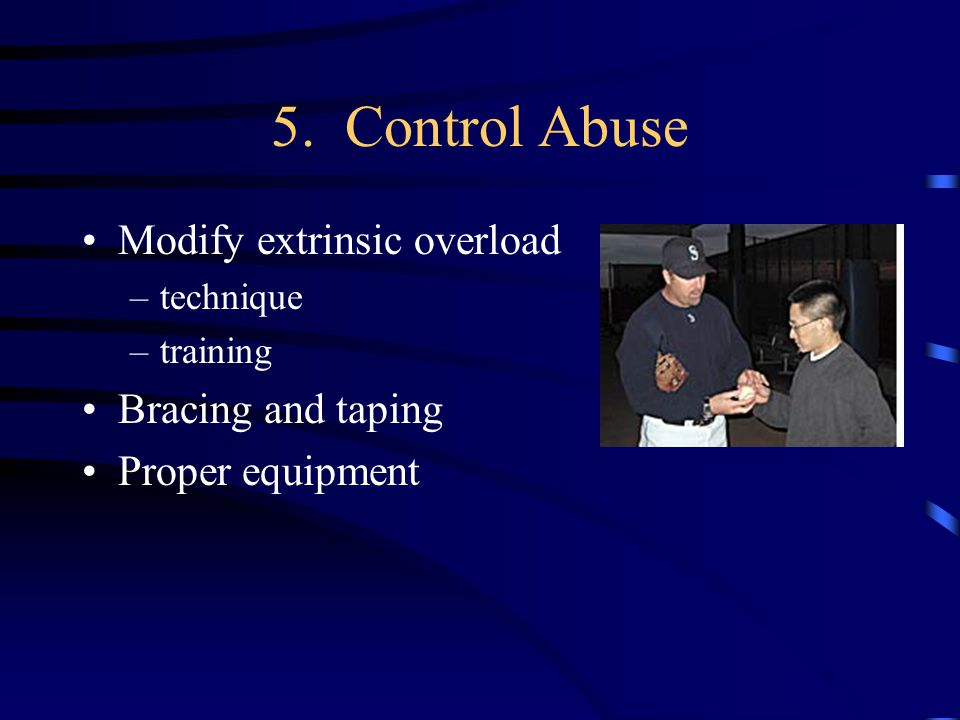 5. Control Abuse Modify extrinsic overload Bracing and taping