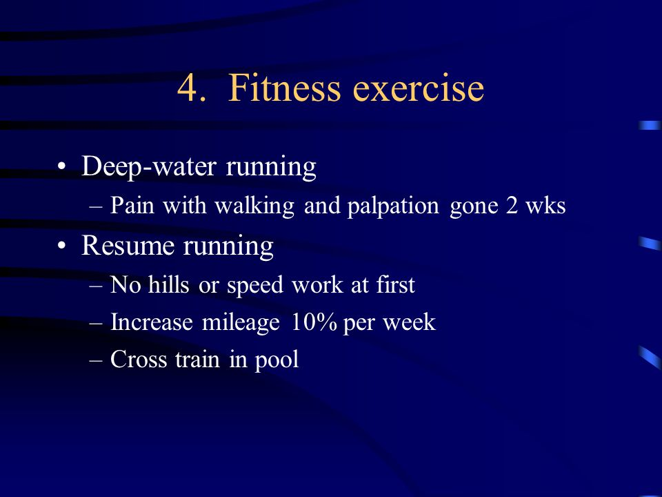 4. Fitness exercise Deep-water running Resume running