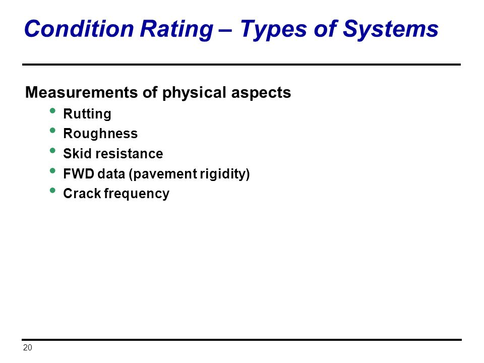 Condition Rating – Types of Systems