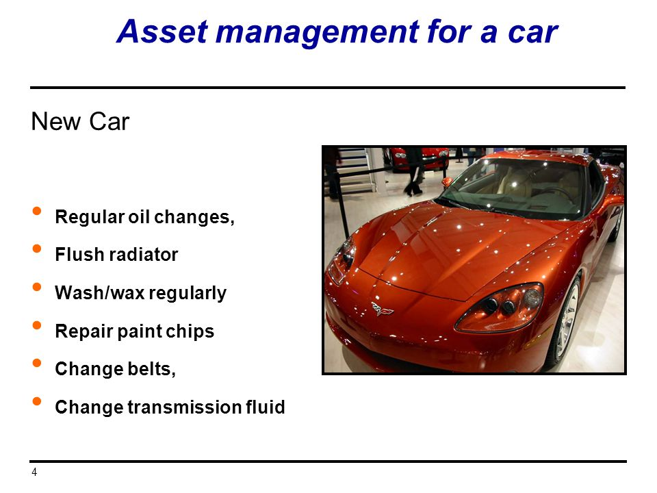 Asset management for a car