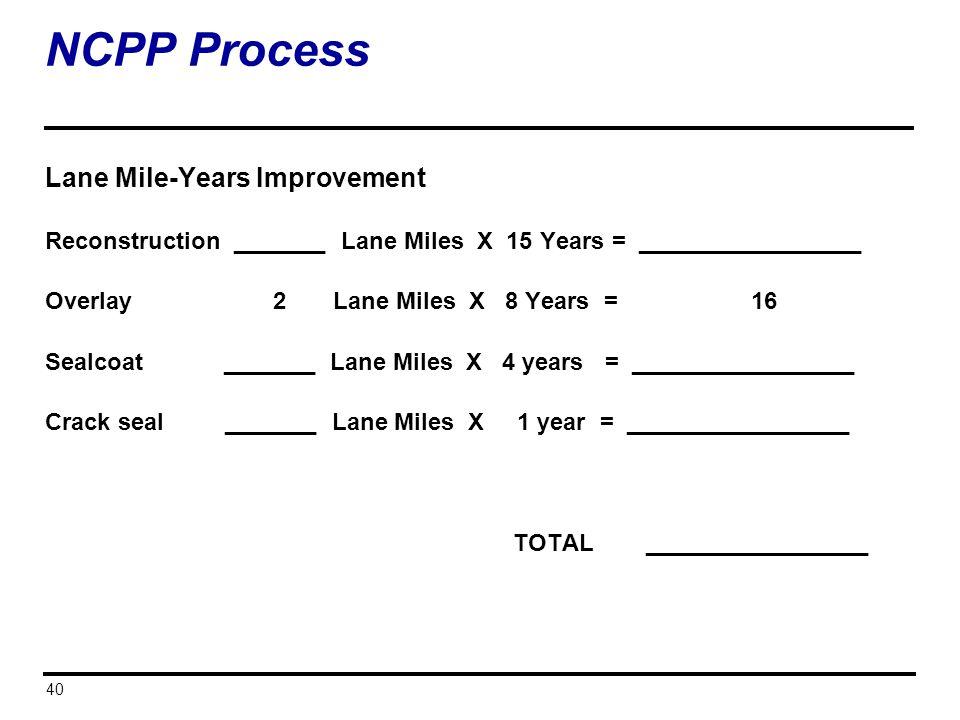 NCPP Process Lane Mile-Years Improvement
