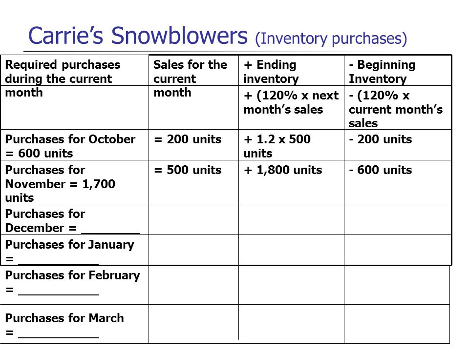 Carrie's Snowblowers (Inventory purchases)