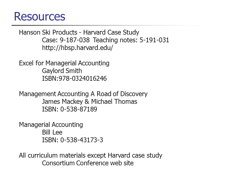 Resources Hanson Ski Products - Harvard Case Study