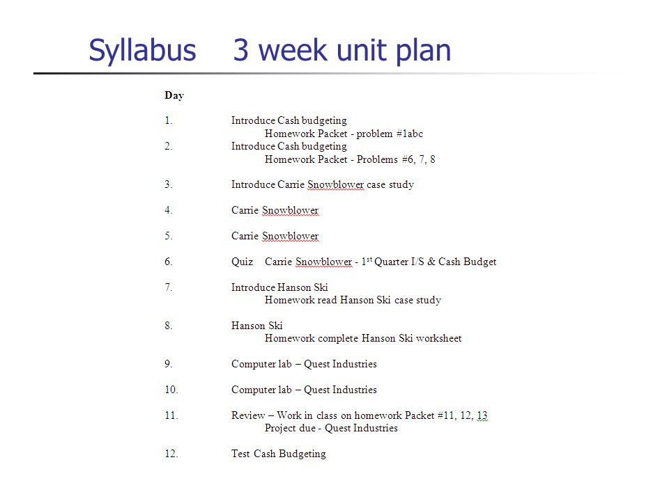 Syllabus 3 week unit plan