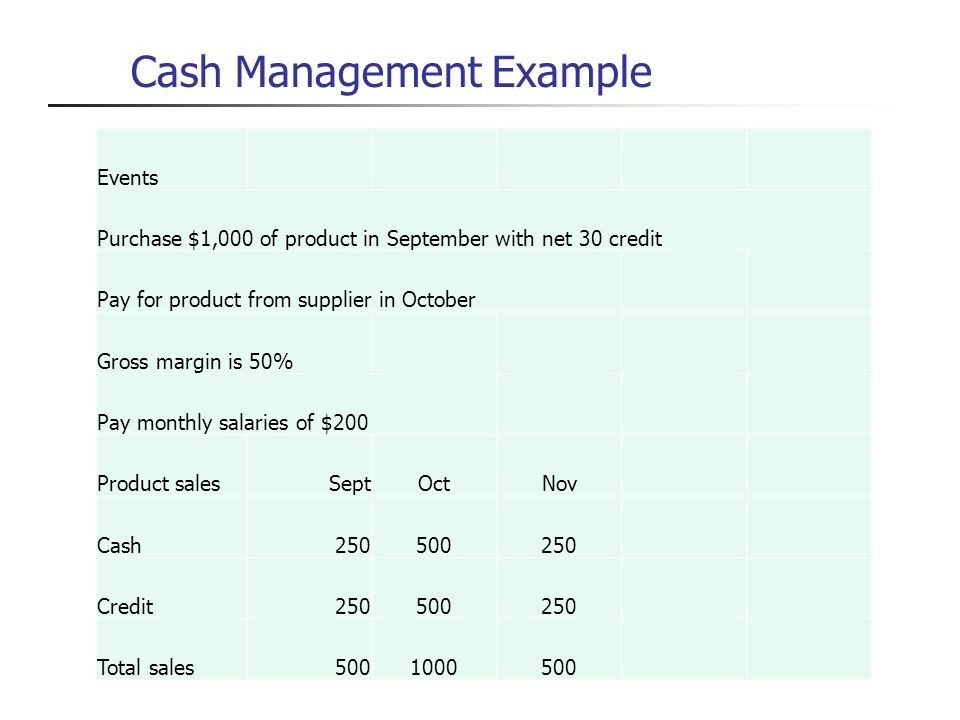 Cash Management Example