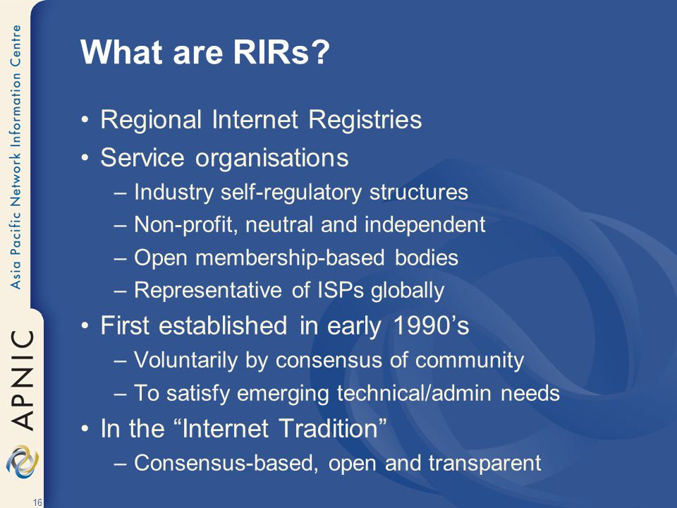 What are RIRs Regional Internet Registries Service organisations