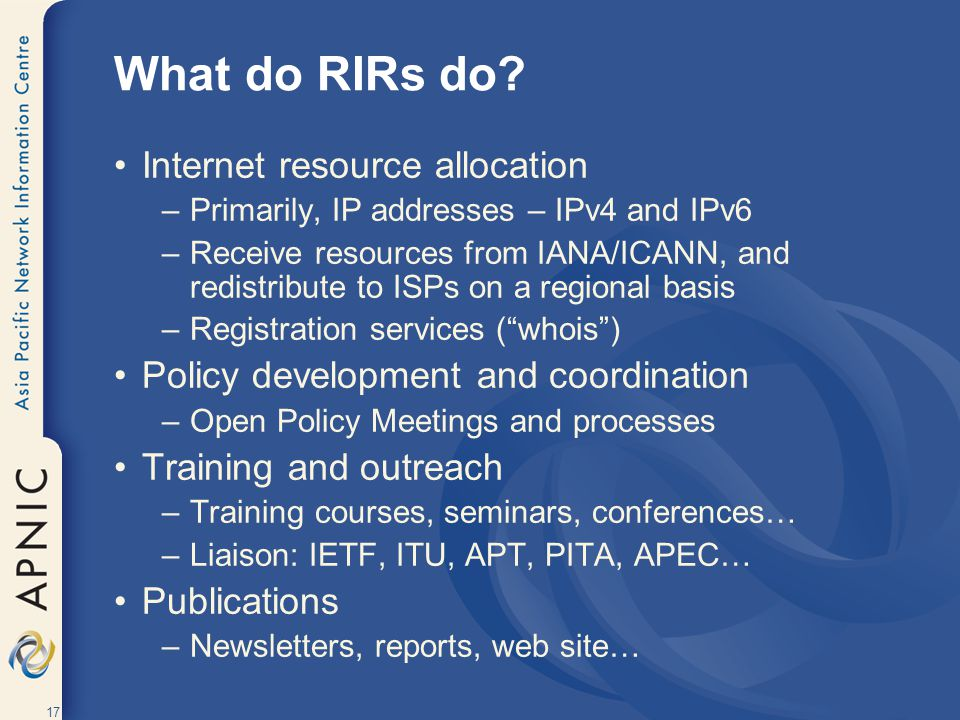 What do RIRs do Internet resource allocation