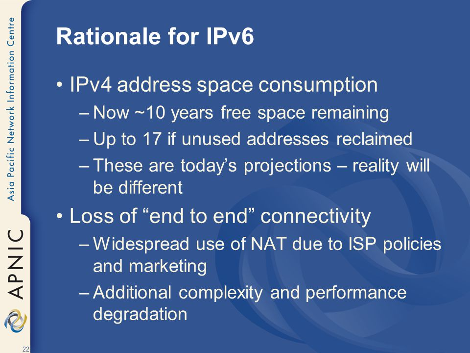 Rationale for IPv6 IPv4 address space consumption