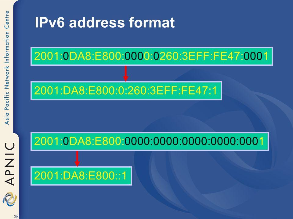IPv6 address format 2001:0DA8:E800:0000:0260:3EFF:FE47:0001