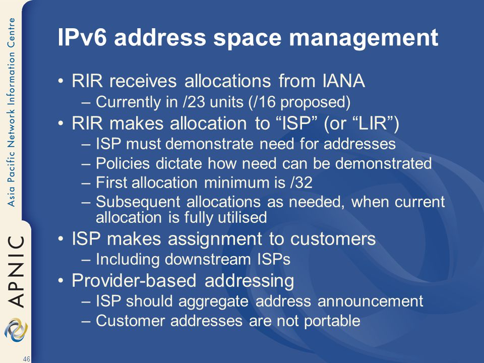 IPv6 address space management