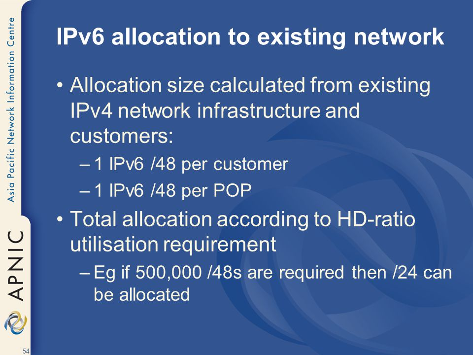 IPv6 allocation to existing network