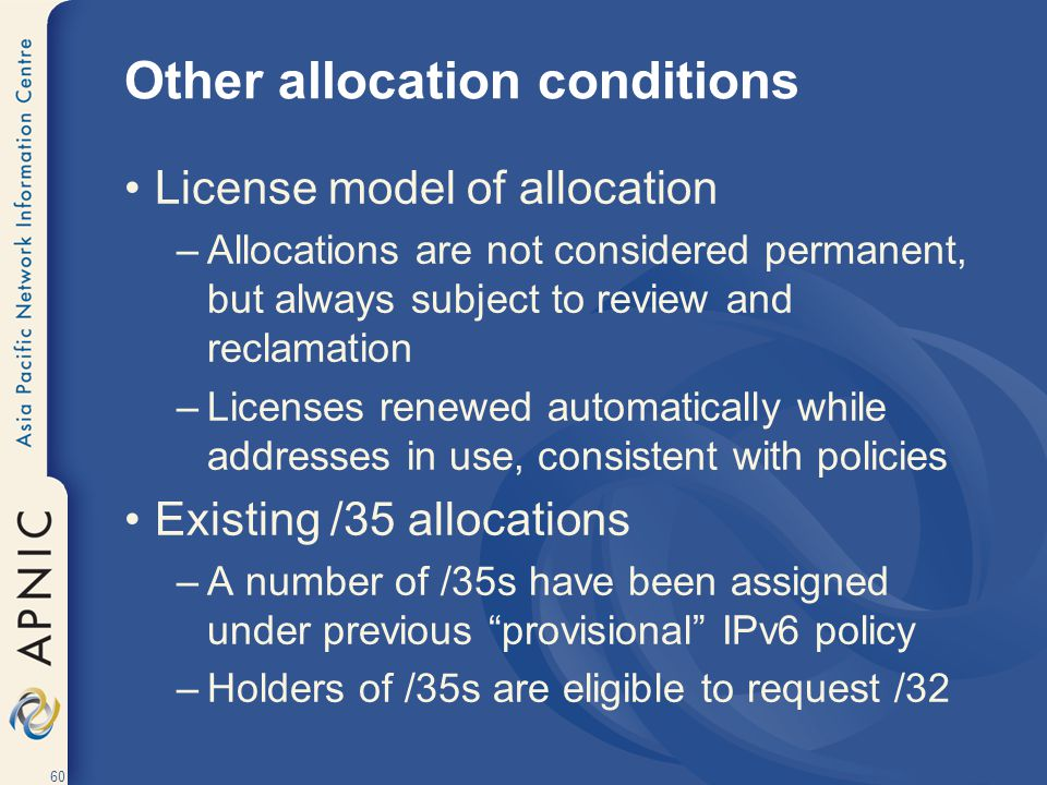 Other allocation conditions