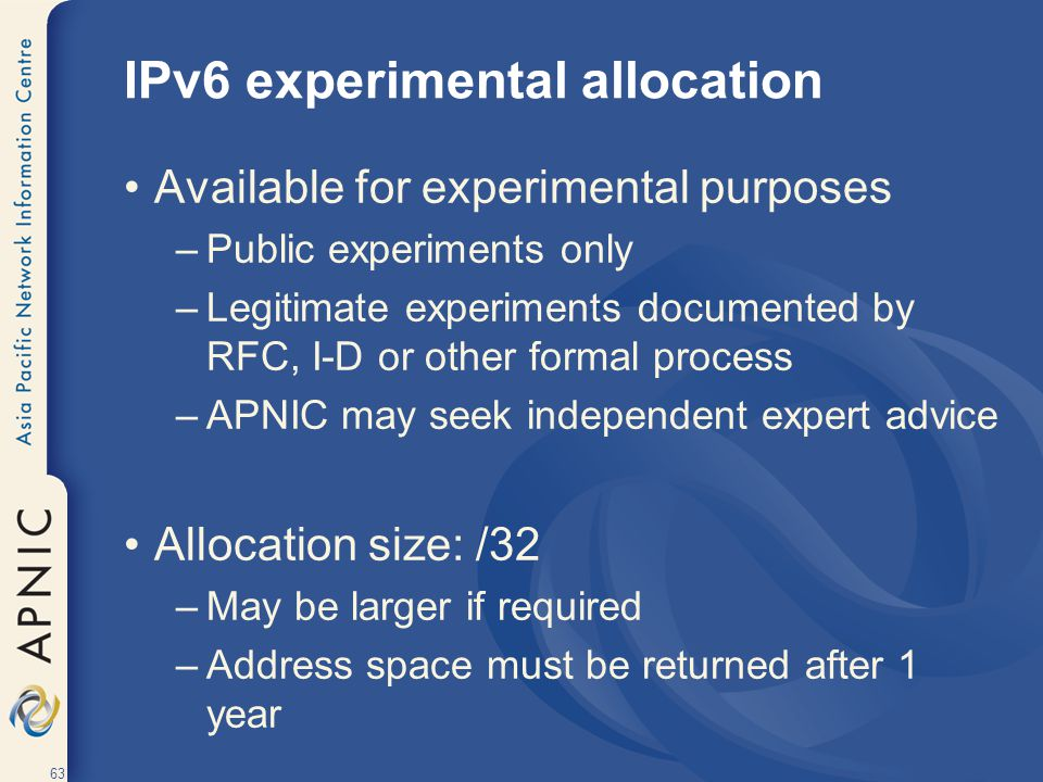 IPv6 experimental allocation