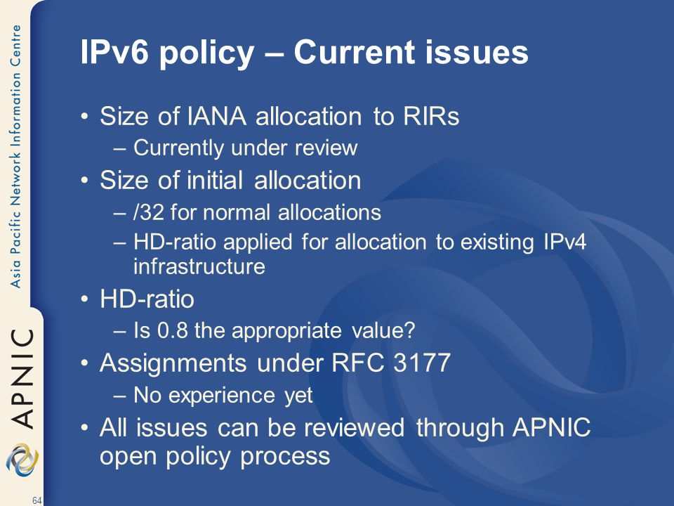IPv6 policy – Current issues