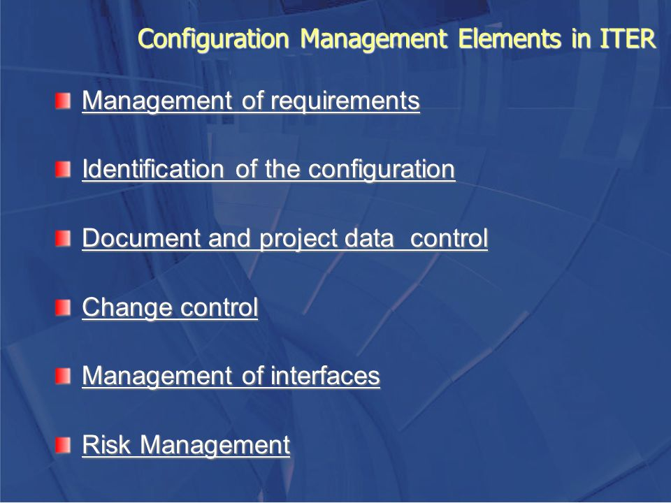 Configuration Management Elements in ITER