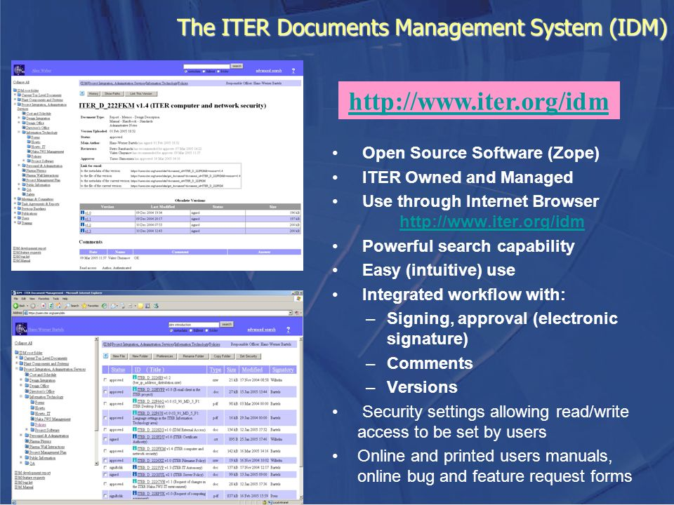 The ITER Documents Management System (IDM)
