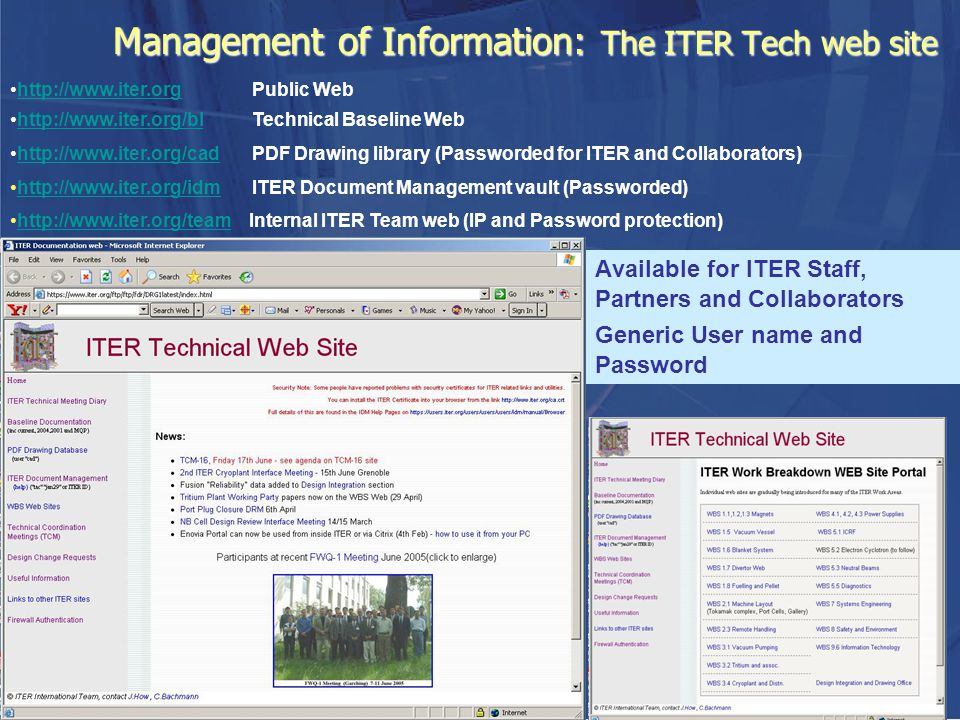 Management of Information: The ITER Tech web site