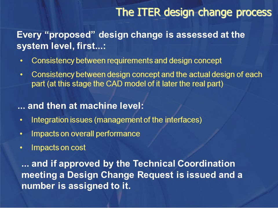 The ITER design change process