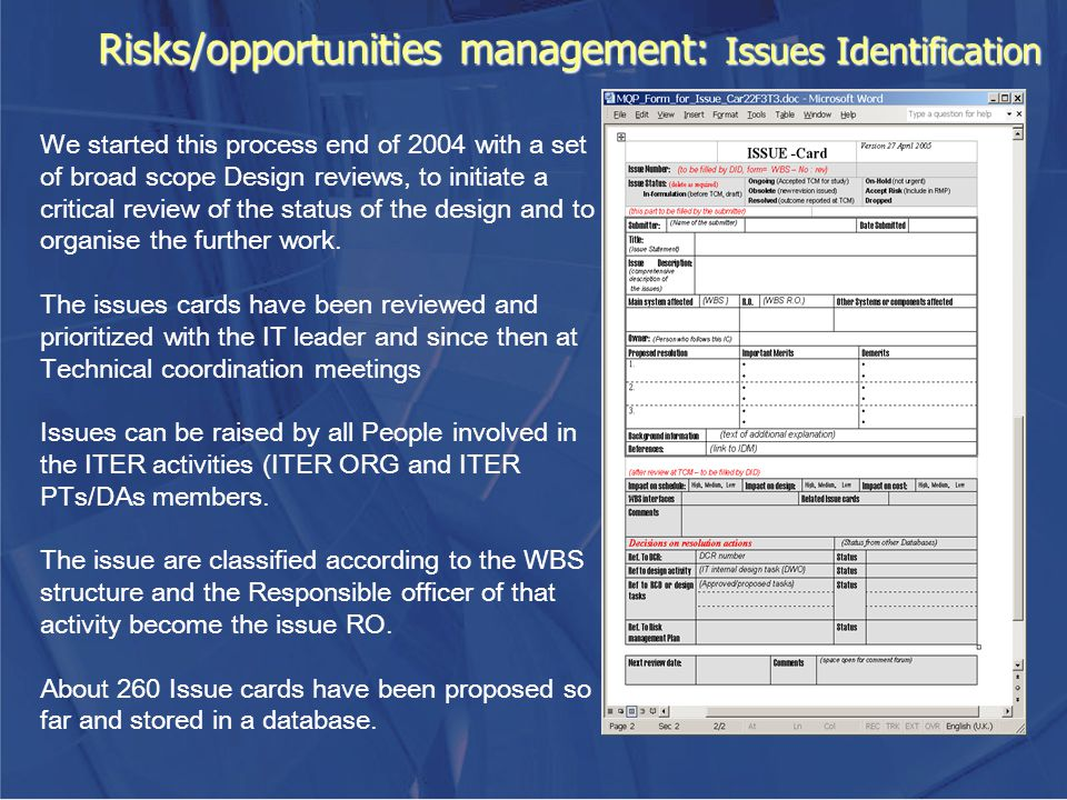 Risks/opportunities management: Issues Identification