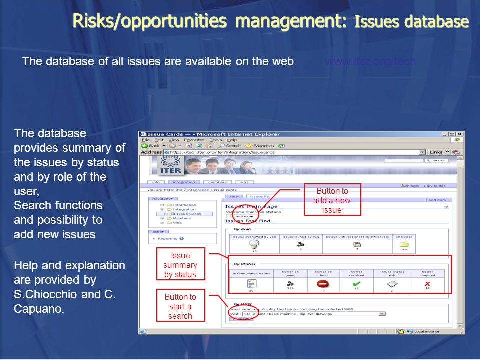 Risks/opportunities management: Issues database