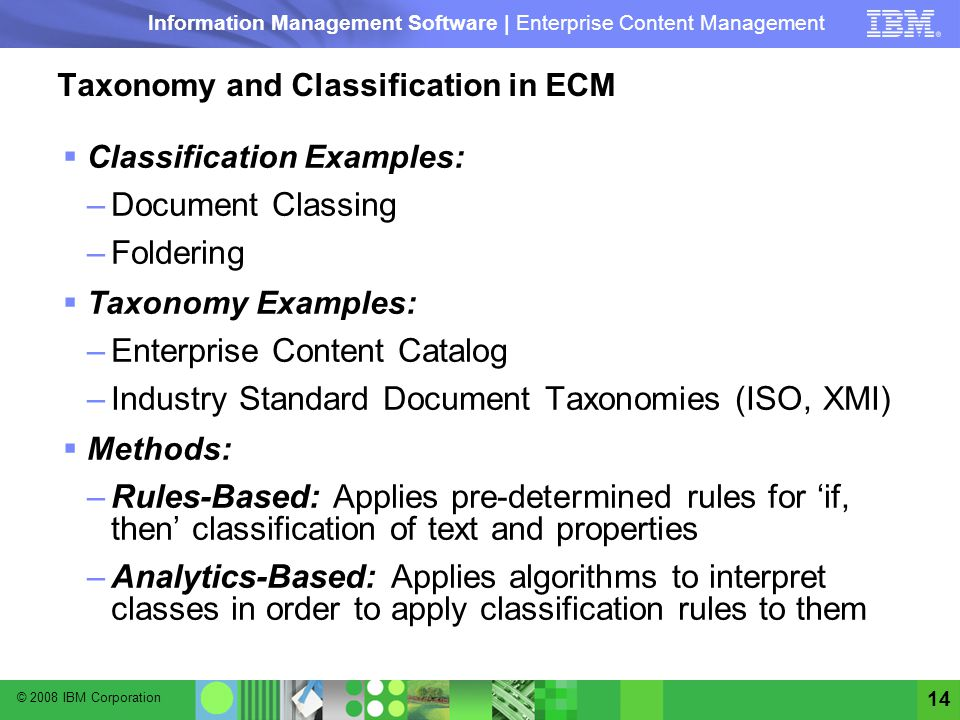 Taxonomy and Classification in ECM